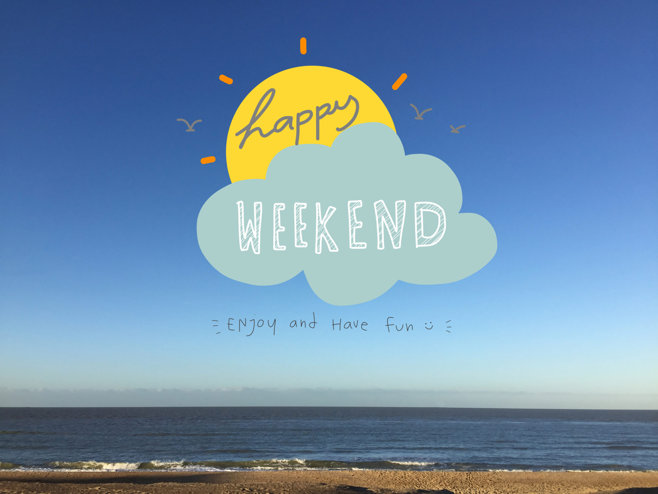 Happy weekend word on sun and cloud on beautiful blue sky and beach